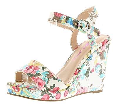 698f4e5d462d Dolcis Ladies Womens White Multi Veron Floral Wedge Sandals - White Multi -