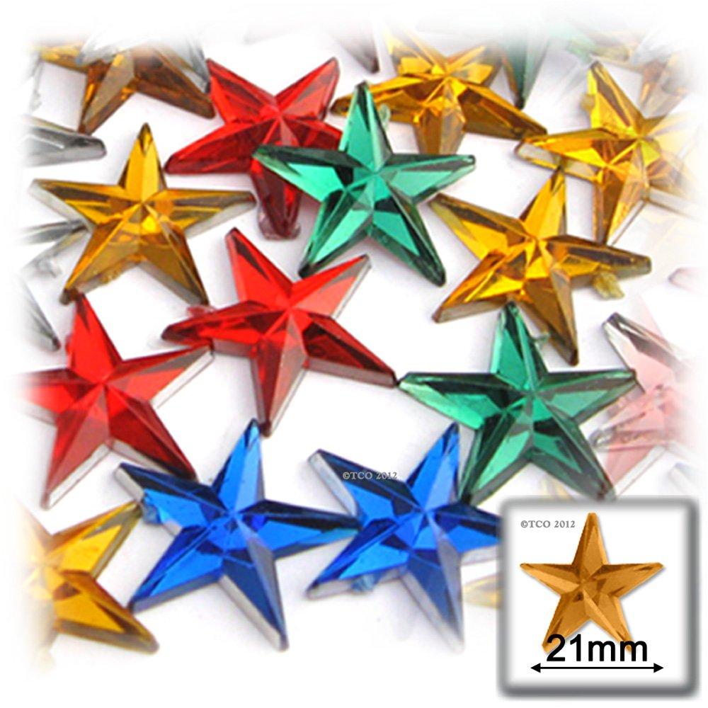 工芸のアウトレット144 Starラインストーン、21 mm、マルチAssortment   B00BG10JOY