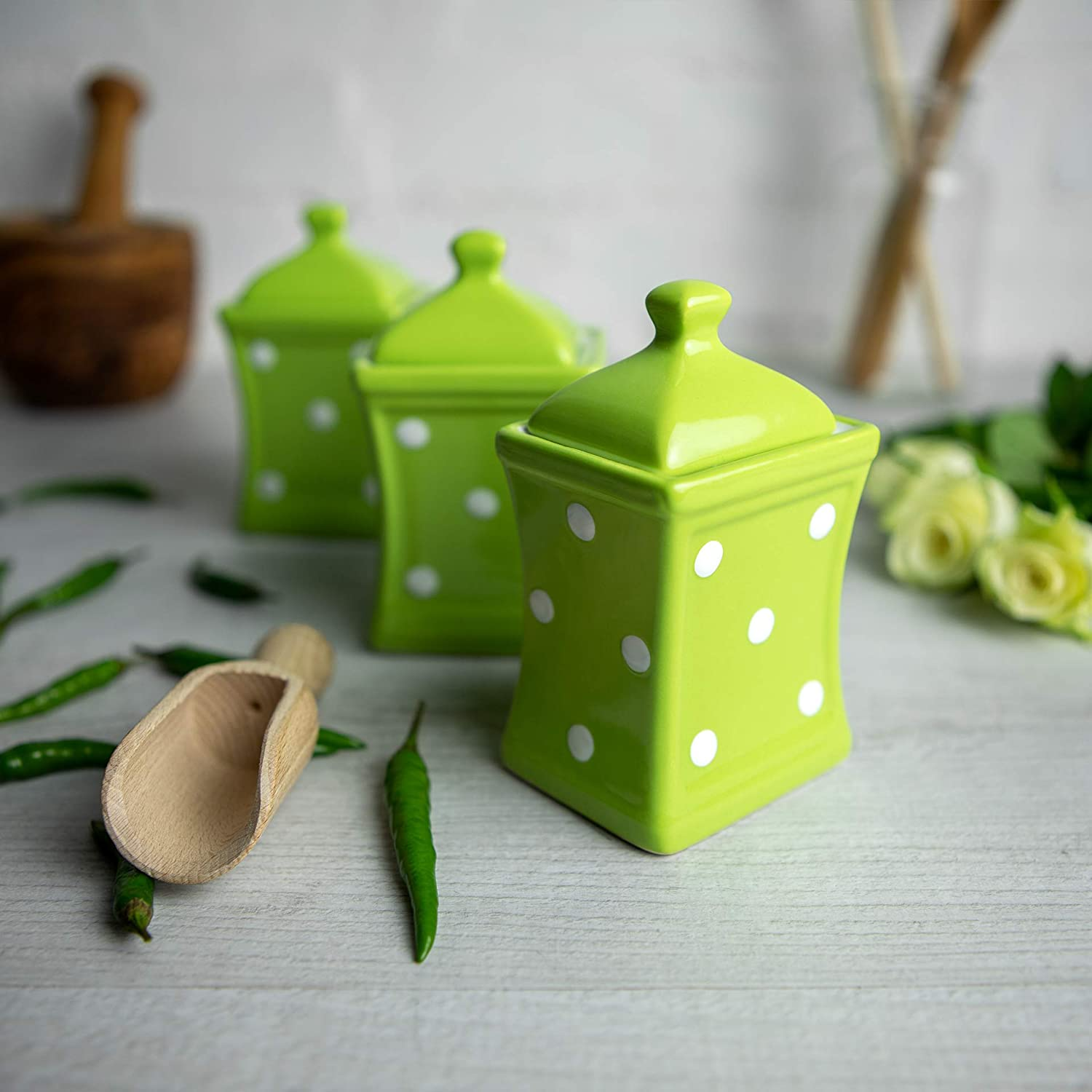 City to Cottage Lime Green and White   Polka Dot   Handmade   Small 5.3oz/150ml Ceramic Kitchen   Herb Spice   Storage Jar Set of 3   Containers   Canisters