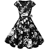 MDOUWoo Women Short Sleeve O-Neck Vintage Floral Dresses 50s 60s Retro Rockabilly Party Plus