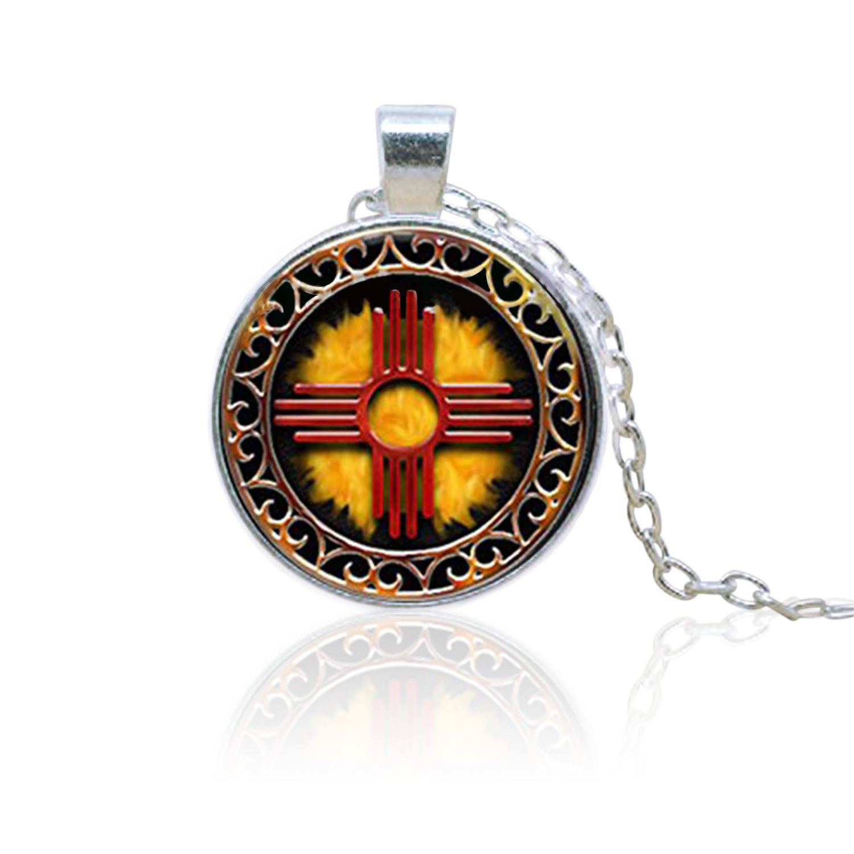 SunShine Day Glass Cabochon Necklace Zia Symbol Pendant Necklace A4113