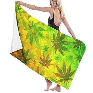 Toallas de playa LSJGG con estampado de hojas de marihuana, toallas de baño, toalla de viaje para adultos y niños: Amazon.es: Hogar