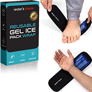 Cold Therapy Gel Pack (2 Gel Packs + 1 Wrap) 3x5 in. Reusable Ice Packs for Foot, Elbow, Wrist, Hand, Arm, Ankle – Cold Pack Reduces Pain and Swelling from Injury and Surgery