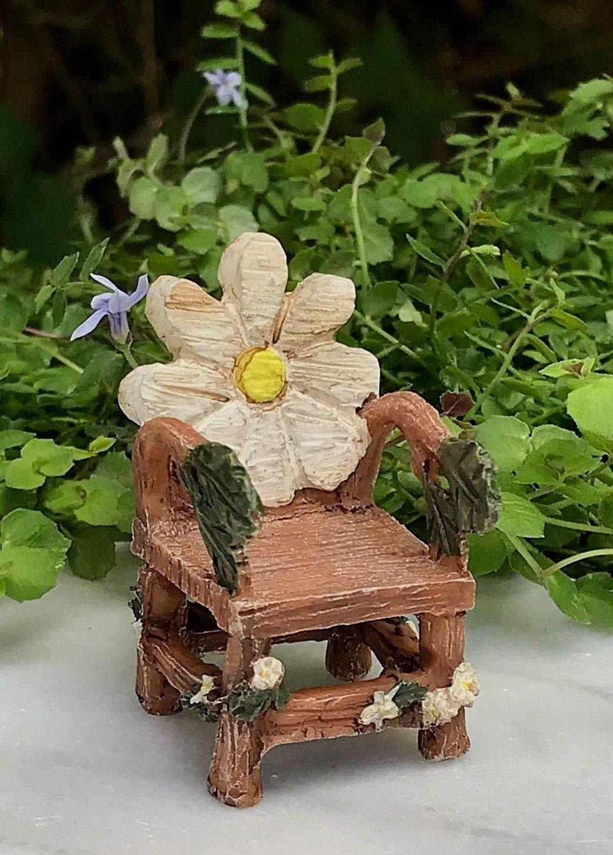 ShopForAllYou Figurines and Statues Miniature Dollhouse Fairy Garden Accessories ~ Mini Flower Bloom Chair ~ New