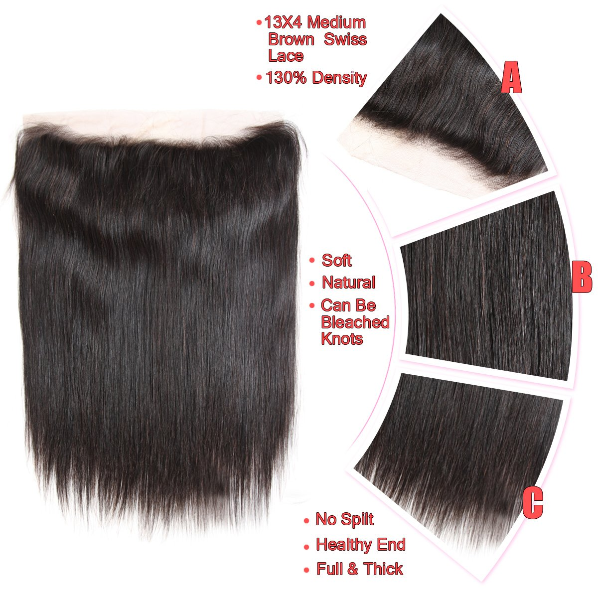 Brazilian Straight Hair 3 Bundles With Frontal Closure 13×4 Ear To Ear Lace Frontal With Bundles 100% Unprocessed Virgin Human Hair Extensions Weave Natural Color (22 24 26 +20 Frontal) by LONG YAO (Image #4)