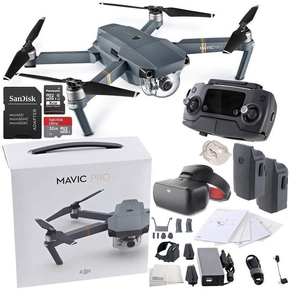 DJI Mavic Pro Collapsible Quadcopter + DJI Goggles Virtual Reality VR FPV POV (Racing Edition) Experience Essential Bundle