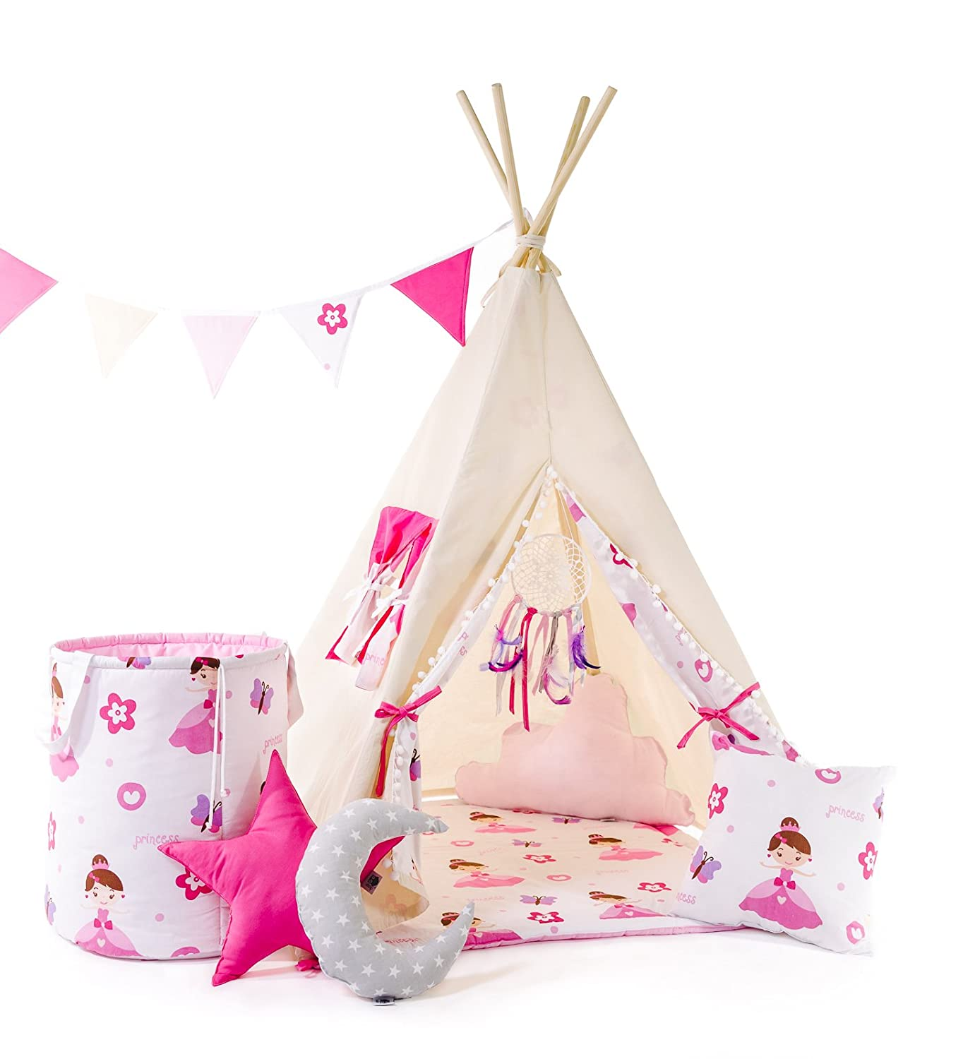 indianerzelt tipi set f r kinder spielzeug spielzelt zelt mit korb tipi set indianer. Black Bedroom Furniture Sets. Home Design Ideas