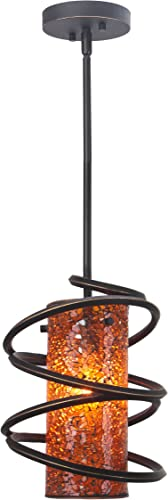 Woodbridge Lighting 12523BLK-M10AMB Loop 1-Light Mini-Pendant, 8-1 2-Inch by 50-Inch, Black