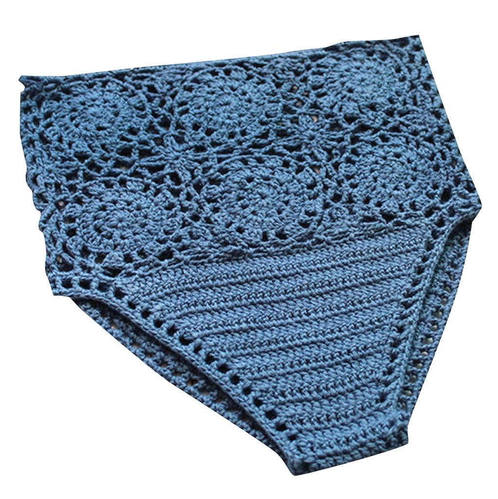 Mysky Summer Women Summer Fashion Sexy Hollow Out Pure Color Hand-Woven High Waist Beach Knit Swim Trunks