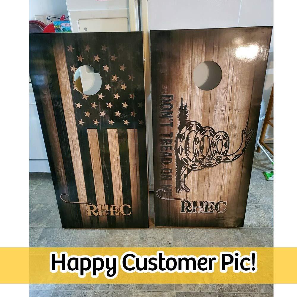 BEST SELLER Cornhole Board Decals Cornhole Wraps Set of 2 Vinyl Stickers Dont Tread on Me Gadsden Flag Combo