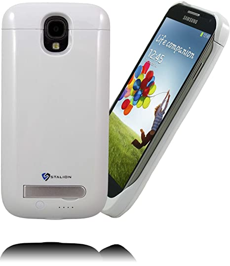 pretty nice ad535 5f86c Galaxy S4 Battery Case: Stalion Stamina Rechargeable Extended Charging Case  (Ceramic White) 3300mAh Protective Charger Cover with Kickstand + LED ...