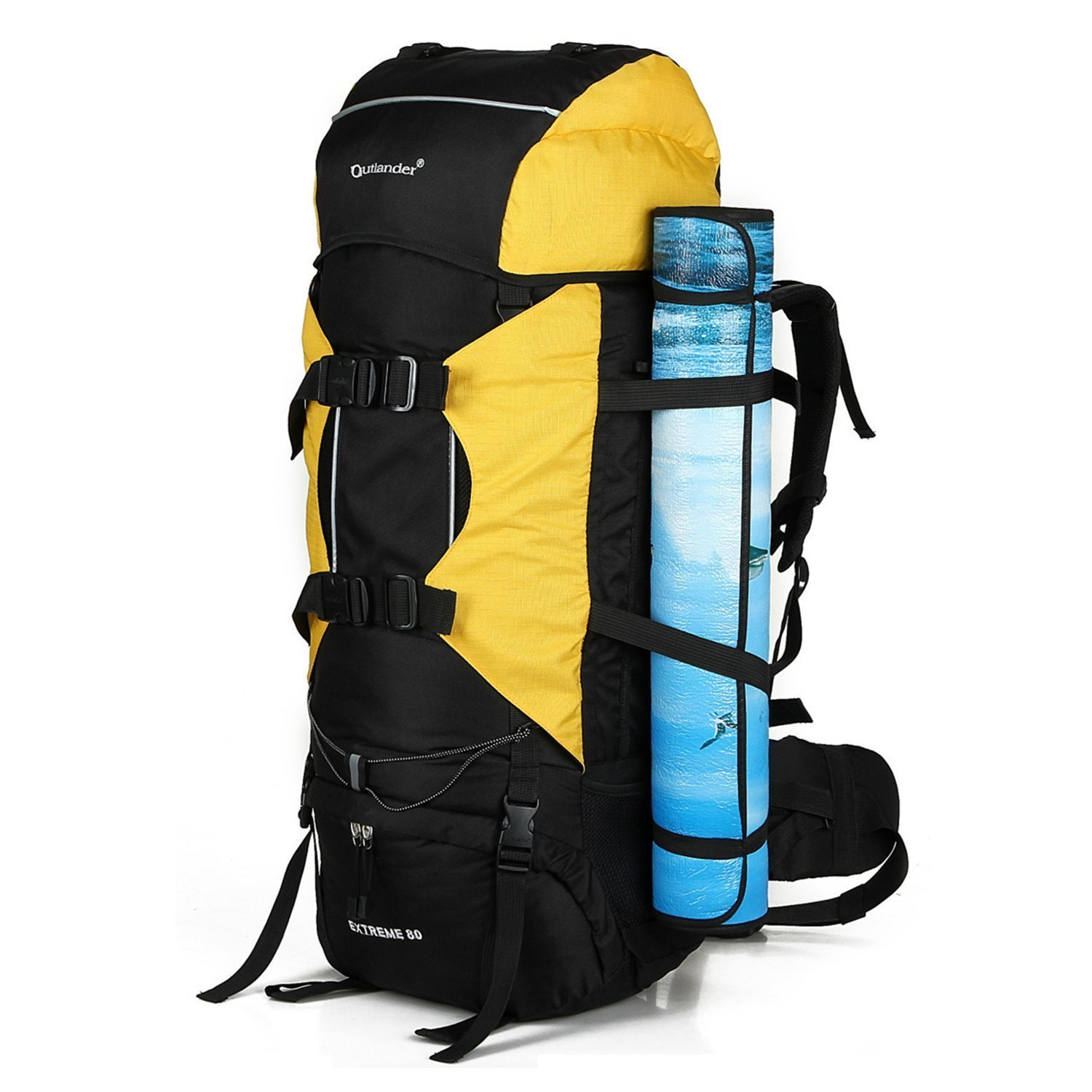 Amoyie Trekking Rucksack 3 Set (70L Backpack and 10L Backpack and Rain Poncho), Perfect Luggage Set for Travel Outside, Bag Blue