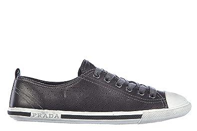 f4fe91b1383d73 Prada Damenschuhe Turnschuhe Damen Leder Schuhe Sneakers Nappa Aviator  Schwarz EU 40 3E4739 3OHH F0002