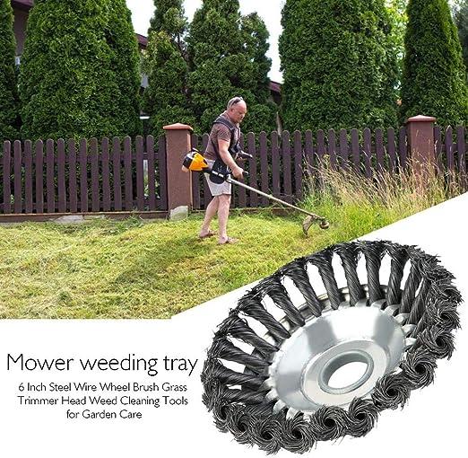 presentimer Cortador de cabeza de podadora de jardín, cepillo de rueda de alambre de acero de