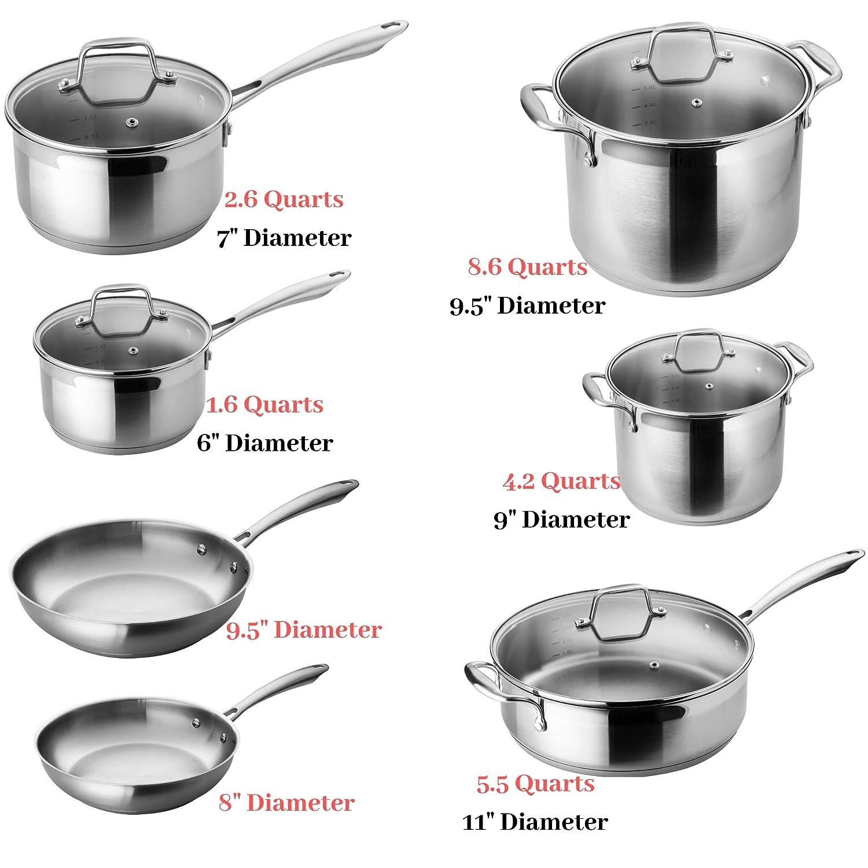 Chefs Star - Juego de 17 ollas y sartenes de acero inoxidable, antiadherentes y aptas para horno, batería con utensilios de cocina, color plateado: ...