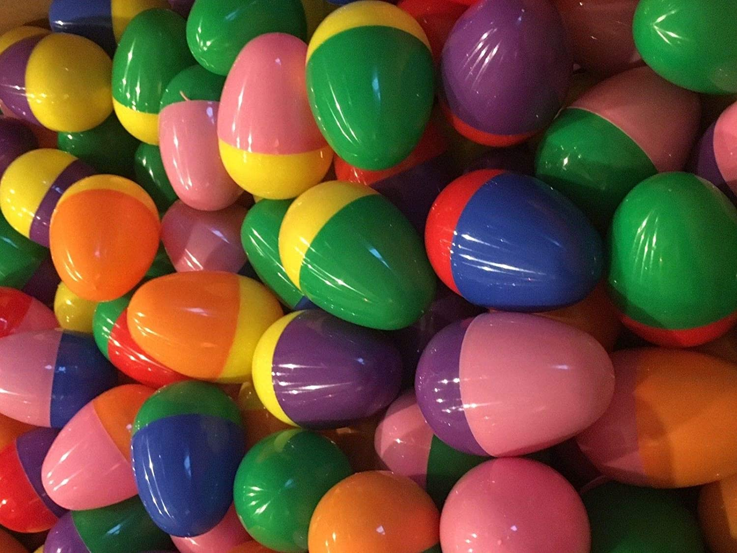 100 Thick Plastic Easter Eggs with Toys Reusable Egg Party Prizes or Vending Machine Toy Mix