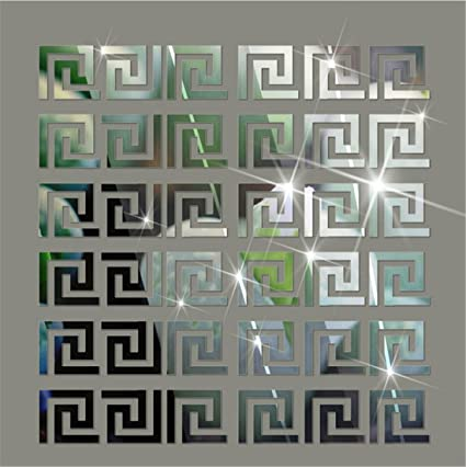 Acrylic Mirror Wall Stickers Geometric Greek Key Pattern Acrylic ...