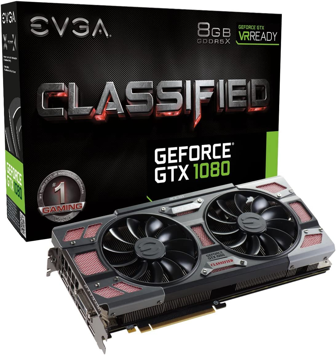 EVGA GeForce GTX 1080 CLASSIFIED GAMING ACX 3.0, 8GB GDDRX, RGB LED, 10CM FAN, 14 Power Phases, Double BIOS, DX12 OSD Support (PXOC) Graphics Card (08G-P4-6386-KR)
