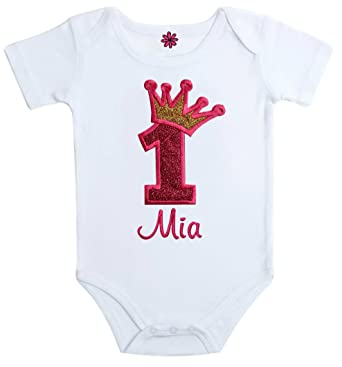 0bcf480fd Birthday Girl Personalized Embroidered Sparkling First Birthday Onesie  Bodysuit with Your Custom Name and Princess Crown