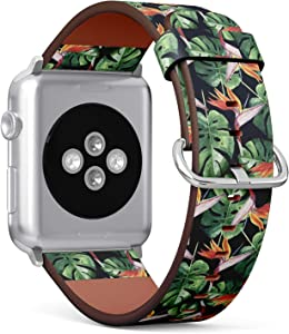 Compatible with Apple Watch (Big 42mm/44mm) Series 1,2,3,4 - Leather Band Bracelet Strap Wristband Replacement - Tropical Hawaii Leaves Palm Tree