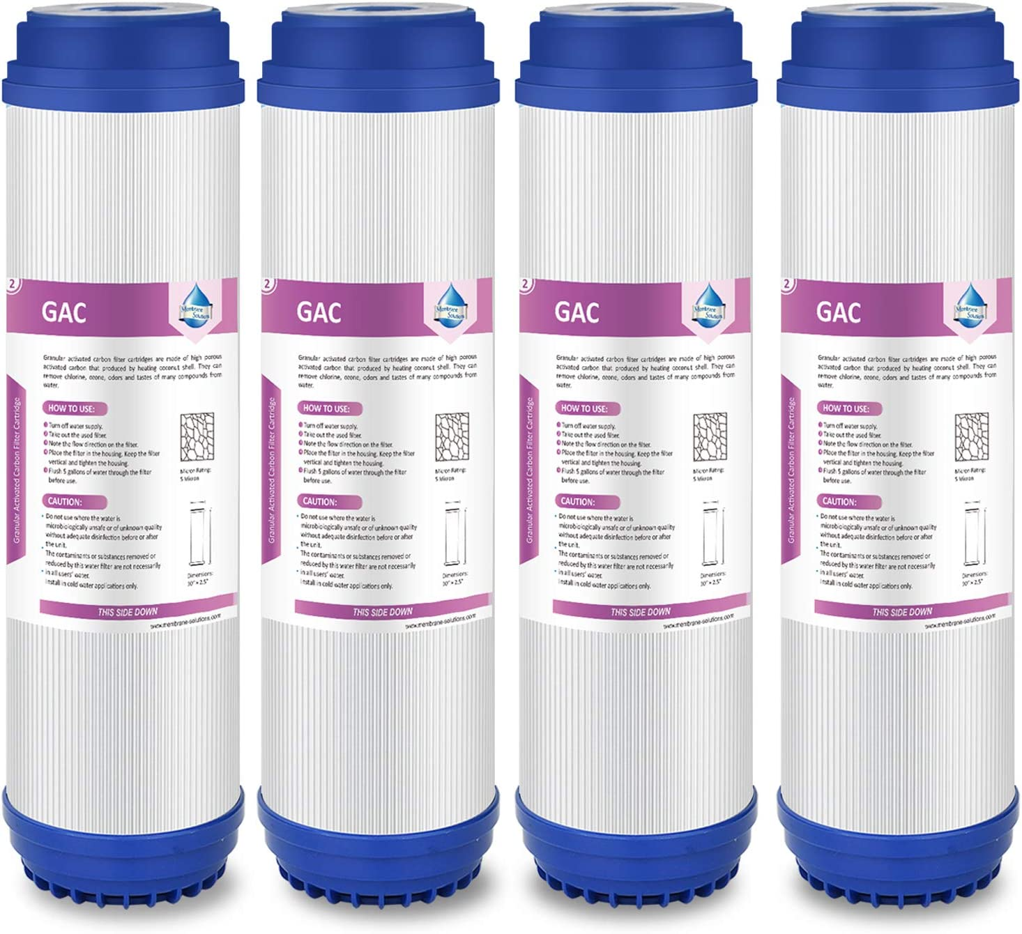 Membrane Solutions 5 Micron 4 Pack 10-Inch GAC Filter