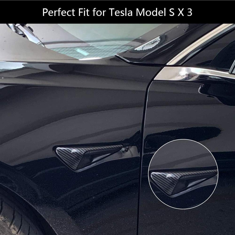 VXDAS 2 pezzi Model 3 Indicatore di direzione copertura per T-esla Model 3 S X Autopilot 2.0-3.0 in vera fibra di carbonio indicatori laterali indicatori di direzione coperture di misura perfetta