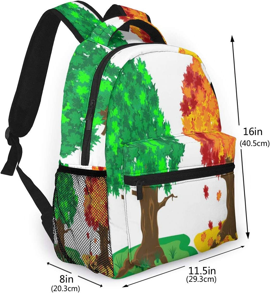 Laptop Backpack,15.6 Inch Stylish College School Backpack Illustration Tree by Summer and Autumn On White Background Water Resistant Casual Daypack Rucksack Gym Bag for Women//Girls//Business//Travel