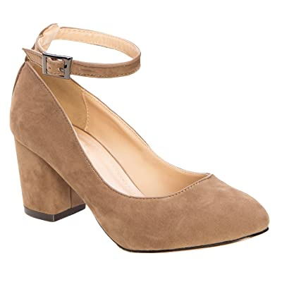 Olivia K Women's Ankle Strap Block Low Heel Pumps Taupe | Pumps