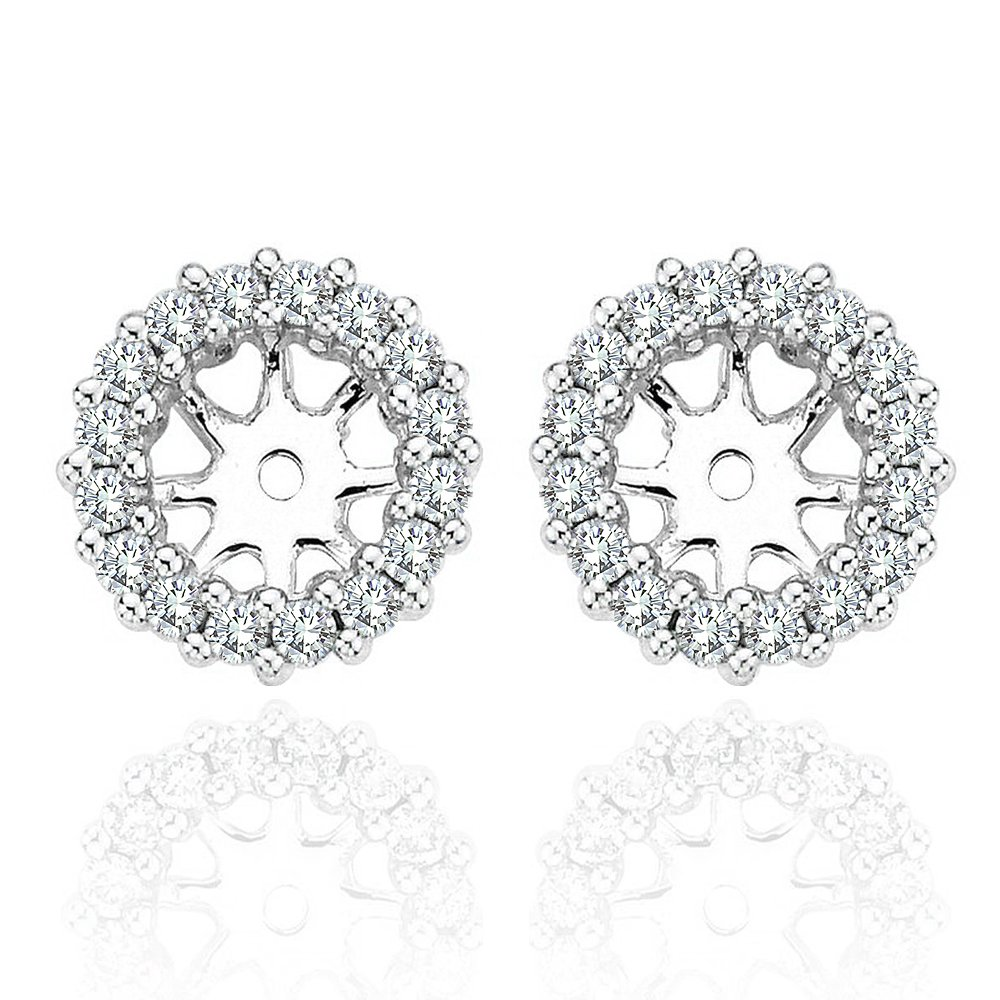 0.40 Carat Diamond Halo Solitaire Stud Earrings Jackets 14K White Gold For 7 MM(3.00 Carat TCW Earrings)