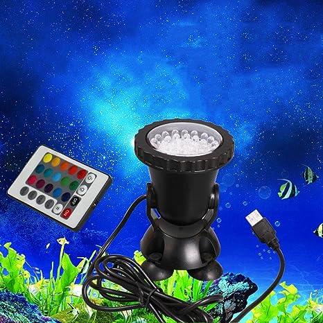 Luz LED para acuario de peces Mando a distancia luces de color iluminación buceo jardín de