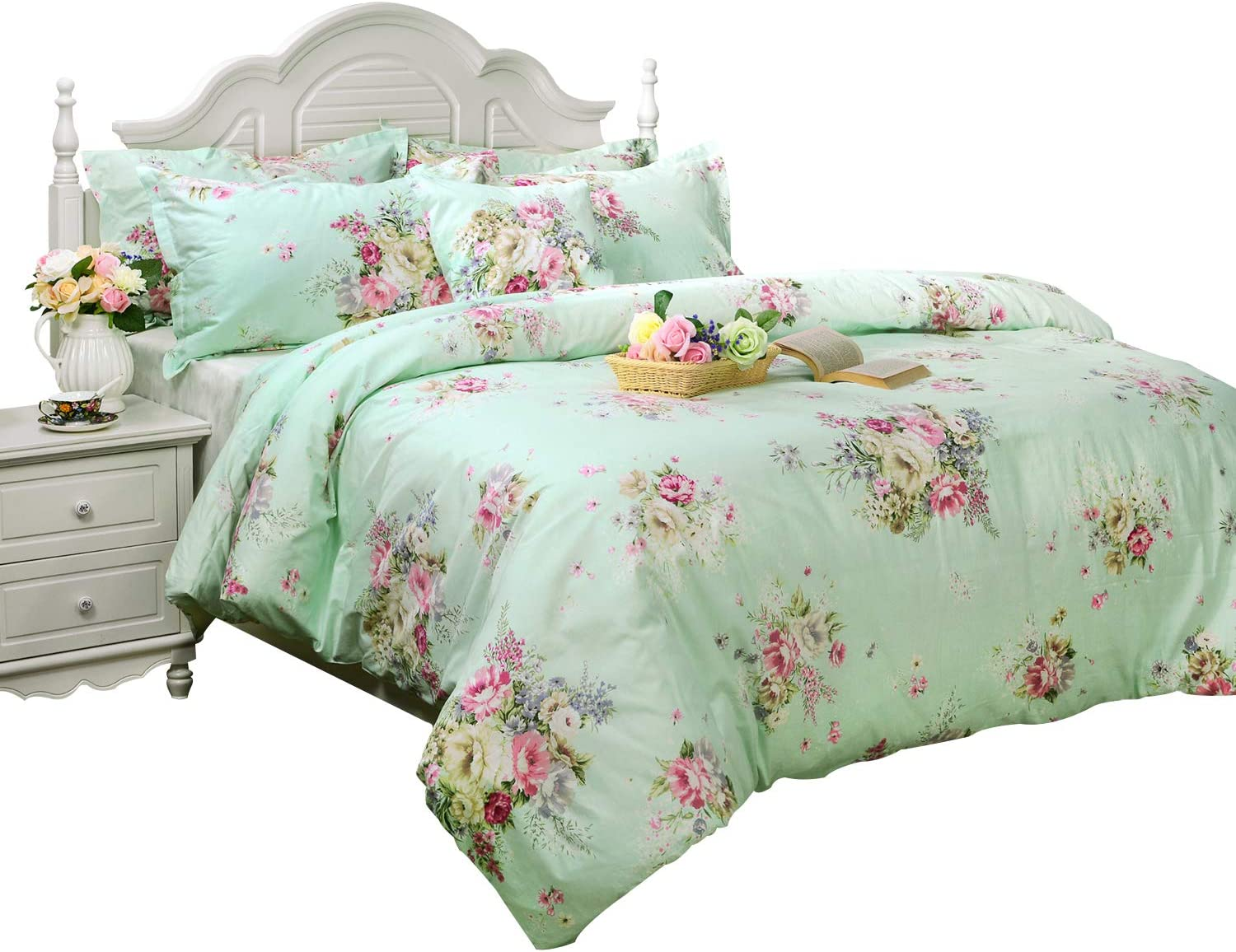 FADFAY Green Floral Duvet Cover Sets Vintage Flower Printed Bedding Hypoallergenic 100% Cotton Twin Extra Long Designer Bedding Set 3 Pieces, 1duvet Cover & 2pillowcases (Twin XL Size, Simple Style)
