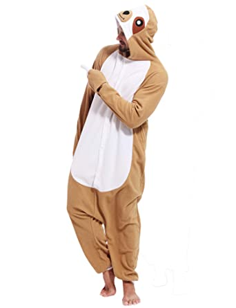 975936994b Image Unavailable. Image not available for. Color  Adult Sloth Onesies  Pajamas Cosplay Animal Homewear Sleepwear Jumpsuit Costume for Women Men