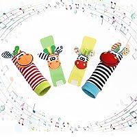 Vicloon Baby rammelaar sokken polsband rammelaars set, 4 stuks voetzoekers & pols rammelaars voor baby's, Baby rammelaar…