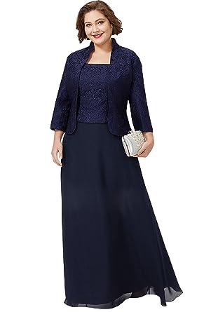d105bb6b9af637 Dressvip Robe Mère de Cérémonie de Cocktail pour Mariage Grande Taille 2018  Manche Longue Longueur Sol Dentelle avec Veste Bleu Marine