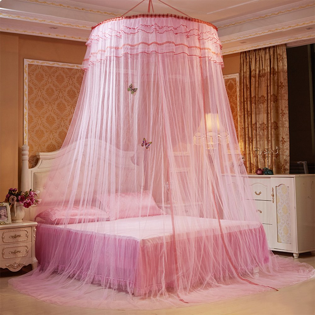Mosquito Luxury Princess Bed Net Canopy Round Hoop Netting Mosquito Net Bedroom Decor (Dome Nets, Pink)