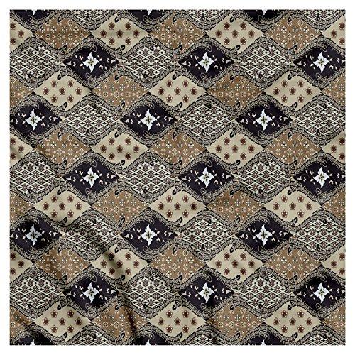 (Ambesonne Unisex Bandana, Asian Old Fashioned Batik Pattern, Black Tan)