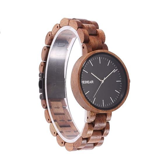 Reloj de Madera Artesanal de Madera con Reloj de Pulsera de Mujer de la Vendimia con 2035 Movimiento Miyota de Japón, Madera de sándalo de Arce/Nogal ...