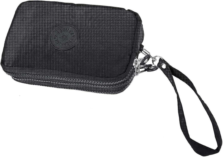TOOGOO® - Bolso pequeño para mujer con tres cremalleras para maquillaje portátil, color negro