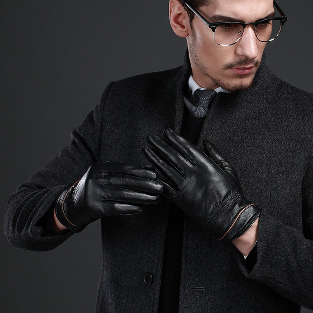 HINY Mens Premium Leather Plush Lined Driving Formal Casual Winter Gloves