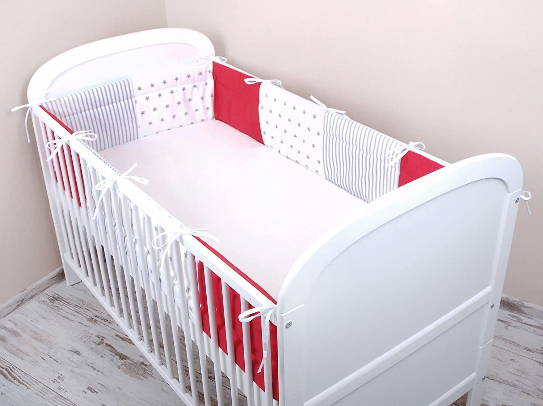 Amilian® Bettumrandung Nest Kopfschutz Nestchen 420x30cm, 360x30cm, 180x30 cm Bettnestchen Baby Kantenschutz Bettausstattung MIX A4 (180x30cm)