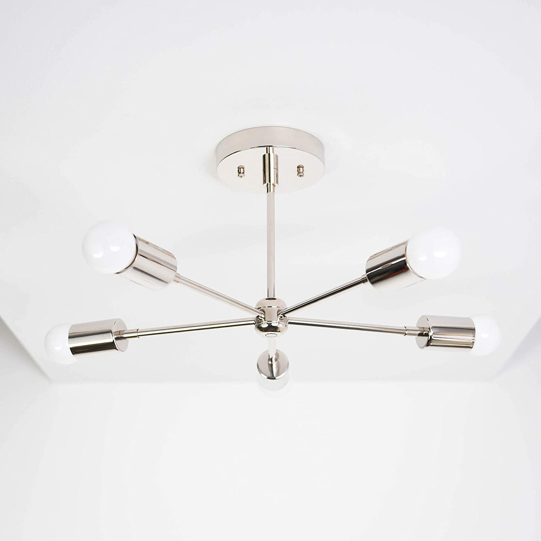 Handmade in U.S.A 5 Arm Polished Nickel Sputnik Style Mid Century Modern Inspired Starburst Chandelier UL Listed