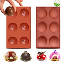 LEVEXUS 6 Holes BPA Free Chocolate Bomb Mold Cake Jelly Pudding Dome Mousse Ice Cream Soap 2 PACK Sphere Silicone Molds…