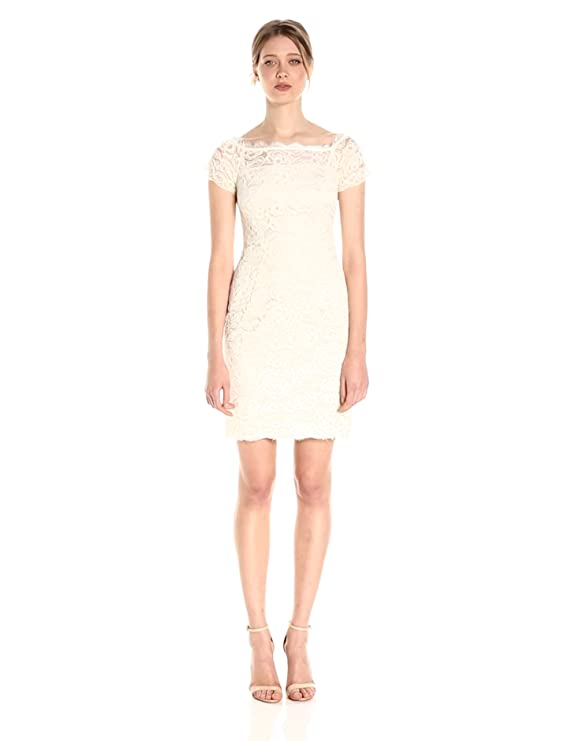 2474c259046f0c Adrianna Papell Women s Off The Shoulder Lace Sheath Dress with Contrast  Lining at Amazon Women s Clothing store