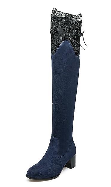 0233da1a7587 YE Damen Spitze High Heels Overknee Stiefel mit Blockabsatz Wildleder  Langschaftstiefel mit Schnürsenke