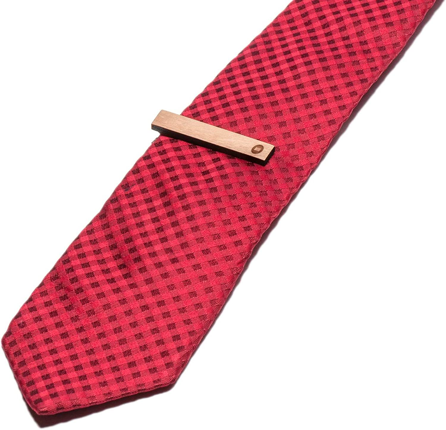 Wooden Accessories Company Wooden Tie Clips with Laser Engraved Merchandise Design Cherry Wood Tie Bar Engraved in The USA