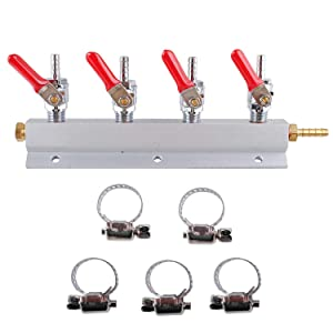 """CO2 Distributor Manifold, Beer Gas Distributor, Kegerator Splitter, 4-Way Kegerator Distributor Manifold 1/4"""" with Integrated Check Valves"""