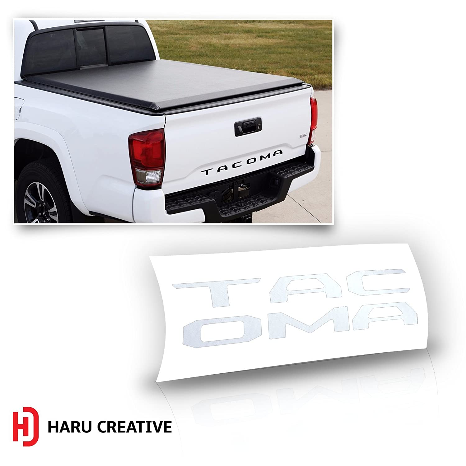 Haru Creative Chrome Silver Loyo Rear Trunk Tailgate Letter Insert Decal Compatible with and Fits Toyota Tacoma 2016 2017 2018 2019