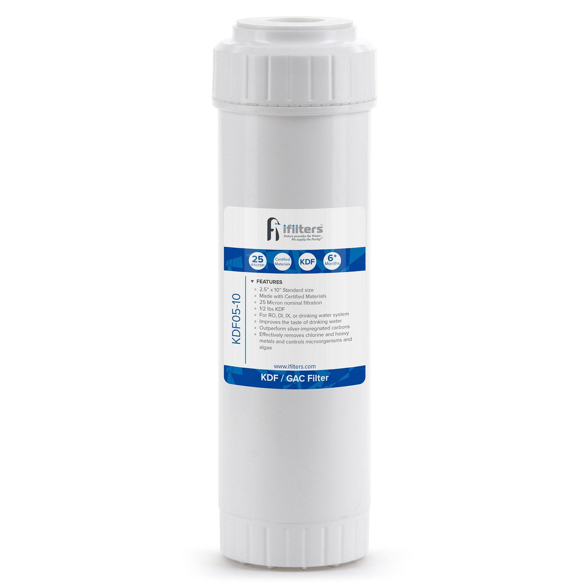 KDF/GAC Water Filter For Chlorine, Taste, Odor, Heavy Metals, Rust - 2.5 x 10