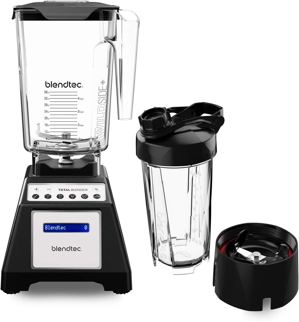Blendtec Total Classic Original Blender - WildSide+ Jar (90 oz) and Blendtec GO Travel Bottle (34 oz) BUNDLE - Professional-Grade Power - 6 Pre-programmed Cycles - 10-speeds - Black