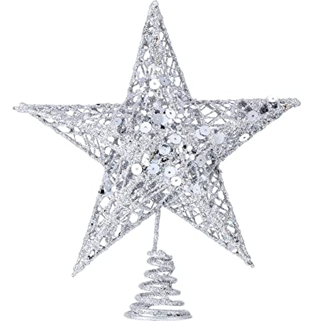 c38b20d9bc78 Bememo 8 Inches Exquisite Shimmery Christmas Tree Topper Star Tree Topper  for Christmas Tree Decoration (Silver): Amazon.co.uk: Kitchen & Home